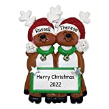 Personalized Reindeer Family of 2 Christmas Tree Ornament 2020 - Cute Romantic Deer Together Real...
