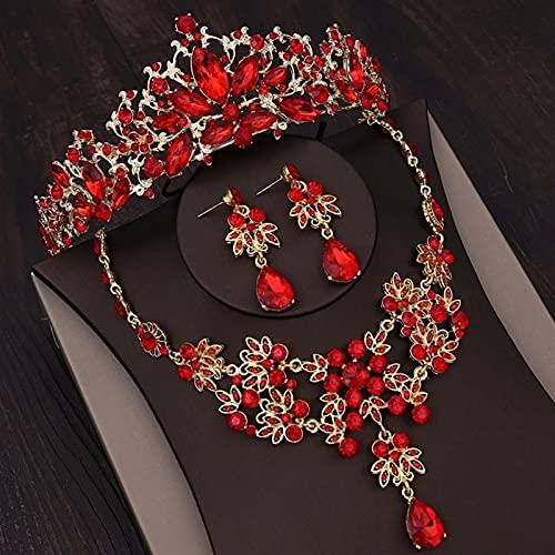 YUANBOO Pendientes De Joyería Nupcial De Color De Oro Barroco Pendientes De Collar De Corona De Diamantes De Imitación para Mujeres Accesorios para El Pelo De La Boda del Cristal Rojo del Vintage