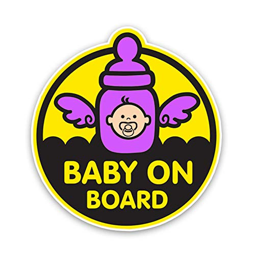 XCWQ Autosticker, 14,6 x 15,7 cm, zonwering, waterdicht, mooie engel, vleugels, baby aan bord, cartoon grafiek, kleur decoratie, waarschuwingsbord