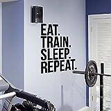 Eat Train Sleep Repeat Fitness etiqueta de la pared para gimnasio Kettlebell Crossfit s Motivación Art Decals Home Decor 56x76cm