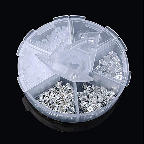 Tuercas de Pendientes,210 Pack Tapones de Pendiente de Goma Plástico Metal Cierres de Pendientes con Almohadilla de Seguridad para Orejeras Caídas Accesorio de Joyería Fabricación 5 Estilos