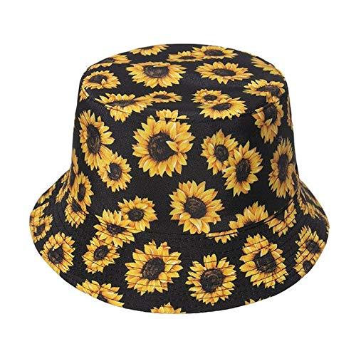Reversible Negro Blanco patrón Sombreros de Pescador Gorras de Pescador para Mujeres Gorras de Verano-Floral