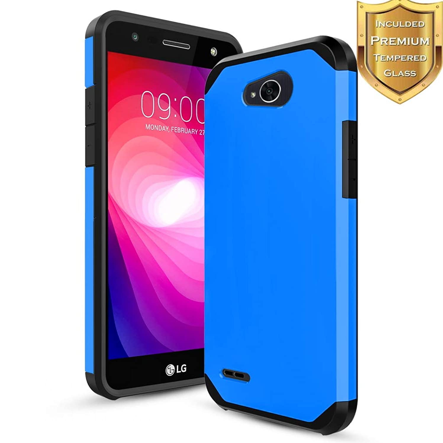 Samsung Galaxy J7 2018 Case,J7 Refine Case,J7 Star,J7 V 2nd Gen,J7 Aura,J7 Crown Case W Tempered Glass Screen Protector,Heavy Duty Hybrid Hard Shockproof Slim Fit Cover for Samsung J7 2018,Blue