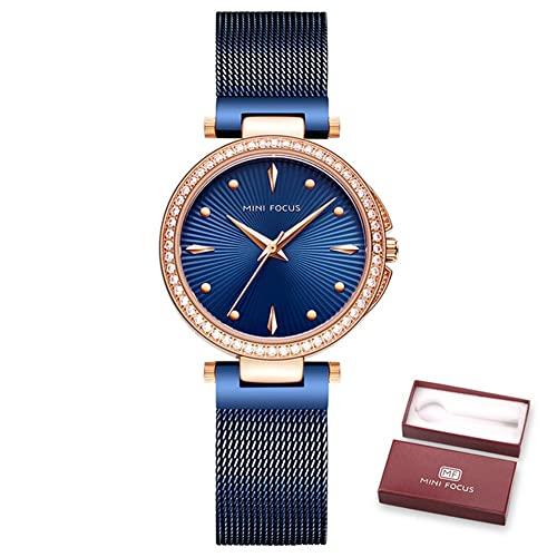 KLFJFD Reloj Impermeable De 30 M con Diamantes De Imitación Simple A La Moda para Mujer, Reloj Elegante De Cuarzo para Niña, Reloj Deportivo con Banda De Acero para Ocio, Regalo De Cumpleaños