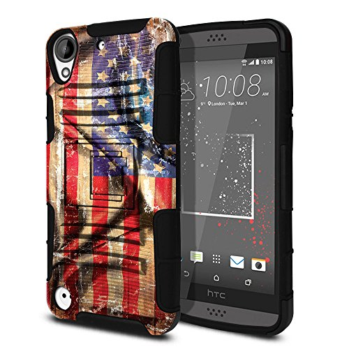 FINCIBO Case Compatible with HTC Desire 530 630, Dual Layer Hybrid Armor Heavy Duty Protector Case Cover Stand Soft TPU for Desire 530 630 - Wavy American USA Flag