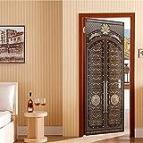 WSLIANG Pegatinas Puerta tridimensionales 3D Pegatinas Puerta Hierro Retro Creativas Etiqueta Engomada Mural Pared PVC Puerta Garaje Madera Vintage Rural para la Oficina en Casa