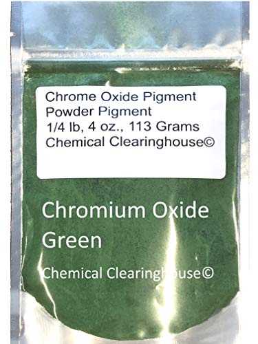 Chrome Oxide Green Pigment 1/4 lb or 4 oz, Chromium Green Pure 99% Pigment for Concrete, Plaster, Drywall, Acrylic Paint, Oil Paint, Tiles, Water Colors, Nail Art, Eye Shadow by Chemical Clearinghouse