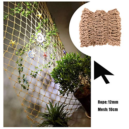 Woven Rope Decor Net Net Decoration Nautical Fish Net,Sea Net Wall Decor Retro Industrial Style,Natural Jute Material,For Party Festival Balcony Garden,12mm/10cm,Multiple Sizes (Size : 1x2m)