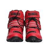 Botas de motocicleta suave del motorista Velocidad cargadores de Motocross Zapatos de la motocicleta antideslizantes, Zapatos impermeables del crucero de arranque Carreras Deportes Botas,Rojo,39