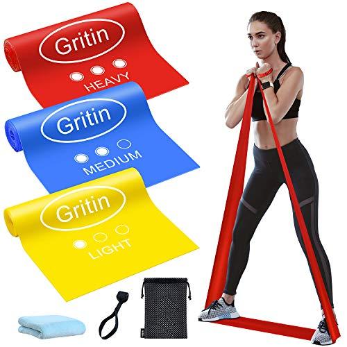 Gritin Bande Elastiche Fitness, [3 Pezzi] Fasce Elastiche di Resistenza di Lattice Naturale con 3 Livelli per Yoga, Pilates,...