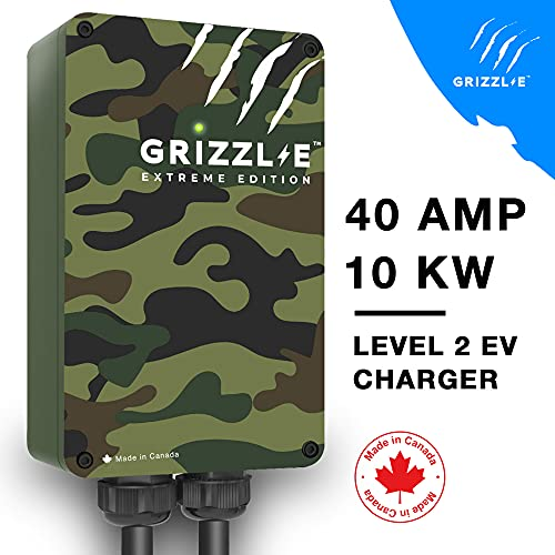 Grizzl-E Level 2 EV Charger, 16/24/32/40 Amp, NEMA 6-50/14-50 Plug, 18 feet/24 feet Premium/Regular Cable, Indoor/Outdoor Car Charging Station (Premium Cable - Extreme Edition)