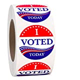 """'IVoted Today' 1.5"""" Round, Circle Voting Label Self Adhesive Stickers Red, White & Blue 1-1/2 Inch, Over 500 Labels per Roll"""