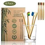 Spazzolino da denti in bambù con puro legno di bambù, set da 8 spazzolini colorati in legno per la cura della bocca per un alito fresco con confezione ecologica della carta.