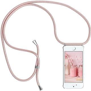 comprar comparacion YuhooTech Funda con Cuerda para iPhone 8 Plus, Carcasa Transparente TPU Suave Silicona Cover Case Cubierta con Colgante Aj...