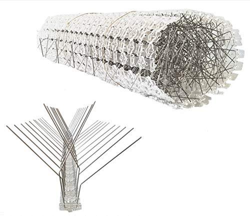 10 Meter Vogelabwehr, Taubenabwehr/ 4-reihig, X-Form/ 20 Elemente a 50 cm/Taubenspikes aus Edelstahl auf UV-geschützter Polycarbonatleiste