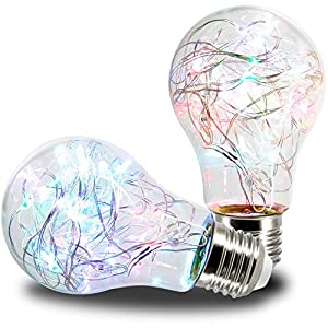 AmeriLuck 2 Pack Twinkle Stars Fairy LED Light Bulb, 2.5-Watt Heatless, Waterproof for Outdoor Use