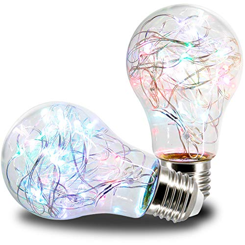 AmeriLuck 2 Pack Twinkle Stars Fairy LED Light Bulb, 2.5-Watt Heatless, Waterproof for Outdoor Use (RGB 2PK, A19)