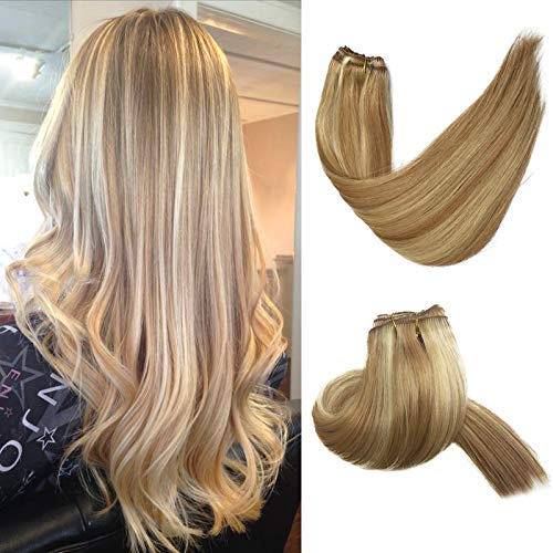 Clip in Hair Extensions Beige Blonde with Blonde Highlights Real Human Hair Clip in Extensions 7 Pieces 70 Gram Silky Straight Weft Remy Hair Extensions Clip on for Women / Kids 18 Inch