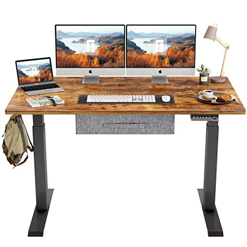 FEZIBO Electric Height Adjustable Standing Desk with Drawer, 55 x 24 Inches Splice Board, Black Frame/Rustic Brown Top
