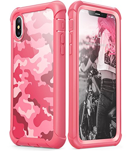i-Blason Case Designed for iPhone X 2017/ iPhone Xs 2018, [Ares] Full-Body Rugged Clear Bumper Case with Built-in Screen Protector (Camo/Pink)