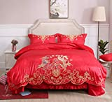 I-MART Queen Size Chinese Traditional Red Sheet Asian Bedding with Dragon and Phoenix Bird Embroidery Duvet Cover Set 4 Pcs