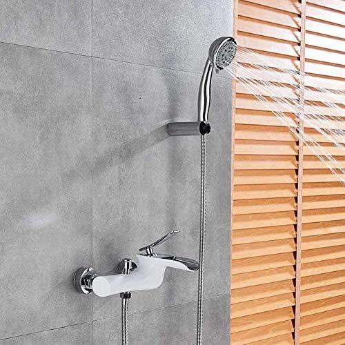 YSNJG Sistema de ducha Cromo Blanco Cascada Bañera Accesorios de ducha Bañera ducha sola palanca mezclador montaje en pared ducha grifo