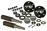 Rigid Hitch Pair of 5-Bolt on 5 Inch Hub Assembly (AKSQ-350055) Includes (2) Square Stock 1-3/8 Inch to 1-1/16 Inch Tapered Spindles & Bearings