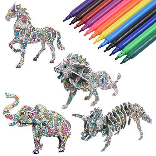 NATUCE Juego De Arte y Manualidades De Rompecabezas para Colorear En 3D, Rompecabezas De Pintura En 3D, Regalo Navidad de Cumpleaño con 4 Rompecabezas de Animales para Niños Niñas