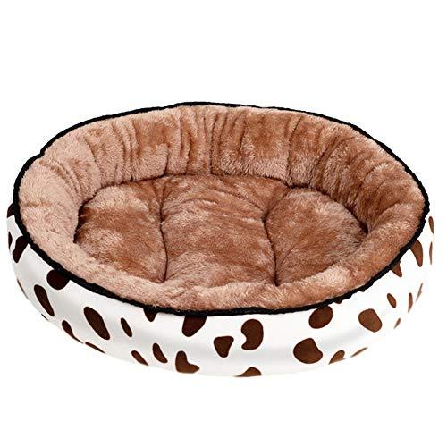 SimidunEUR Hundebett Waschbar Runde Hundekorb für kleine Hunde Katzen Weiche Plüsch Hundekissen,Milchkaffee 1,L (60 * 48CM)