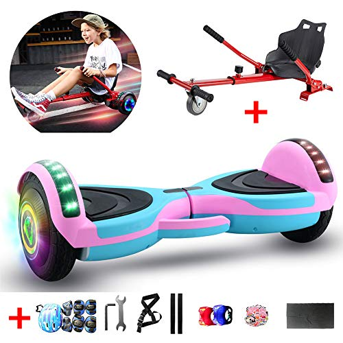 "WFLRF 8"" Self Balancing Electric Scooter with Hoverkart Go-Kart with Led Colorful Light, Best Gifts for Kids+ A Set of Protective Equipment,Pink"