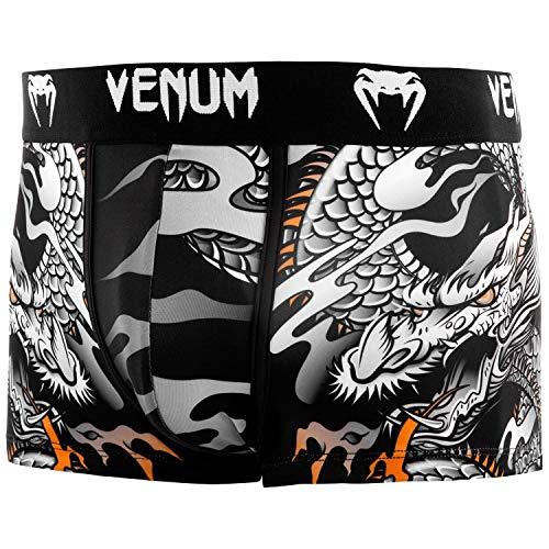Venum Herren Dragon's Flight Sport Boxershorts, Schwarz/Weiß, XL