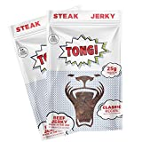 Tong Jerky's Classic Beef Jerky. 2 Pack Multipack-2.5-oz each, 70 Calories, Keto Friendly Craft Jerky, made with 100 percent Premium Steak. Tender and Delicious Meat. Low Carb, Low Sugar, Healthy Snack Made from brisket