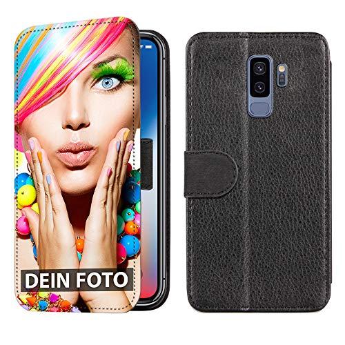dP deinPhone Samsung Galaxy S9 Plus - Handyhülle - Selbst gestalten/Individuell bedruckbar/eigenem Foto oder Text/Flipcase Lederoptik mit Kreditkartenfach