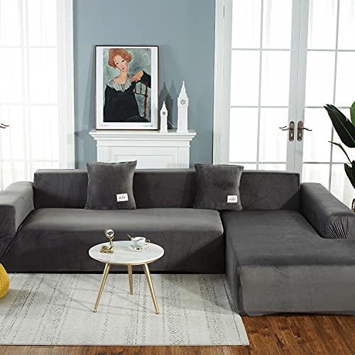 Verdicken Stretch sofabezug L form beige mit 2 Kissenbezug,2 Stück Weiche Sofa überzug Schonbezug Möbelschutz für Wohnzimmer,Upgrade Elastische Sofa Abdeckung für Hunde Katzen Haustiere Kinder,Gr