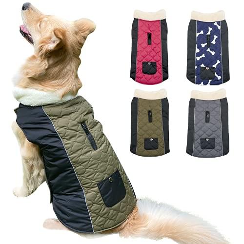 Etechydra Hundemantel Jacke, wasserdichte Wendbare Winter Hundekleidung, Verstellbare Reflektierende Hundejacke Mantel mit Fleecekragen Warme Mäntel für Kleine Mittel Große Hundeweste Grün - L