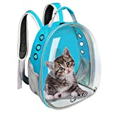 ZIGJOY Mochila portadora para Gatos, Mochila Transpirable Transparente para Cachorros y Gatos, Caja para Gatos, Jaula para Perros pequeños, Bolsa de Viaje para Mascotas, Bolsa Espacial (Azul)