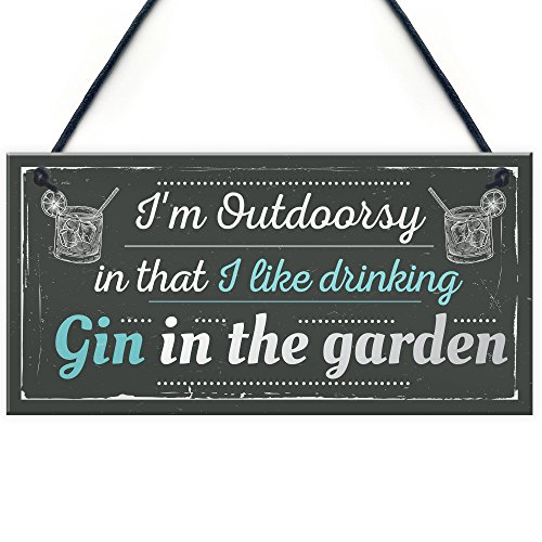 RED OCEAN Drinking Gin In The Garden Gin & Tonic Hanging Funny Alcohol Vintage Sign Party Gift Garden Shed
