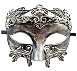Coolwife Mens Masquerade Mask Vintage Venetian Greek Roman Colombina Mardi Gras Party Mask (D Antique Silver Black)