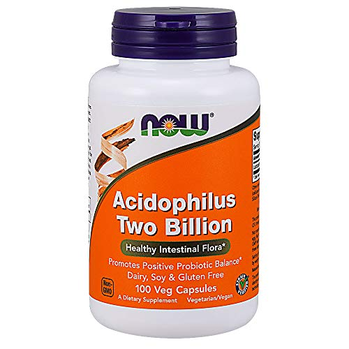 NOW Supplements, Acidophilus, Two Billion, Dairy, Soy and Gluten Free, 100 Veg Capsules