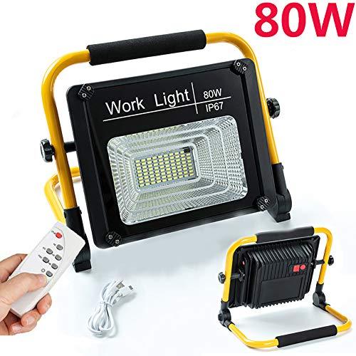 80W LED Baustrahler, Bauscheinwerfer Mit Fernbedienung, Baustelle Strahler, Arbeitsleuchte Werkstatt, 5000 Mah Eingebauter Akku, USB Aufladen, IP67 Wasserdicht