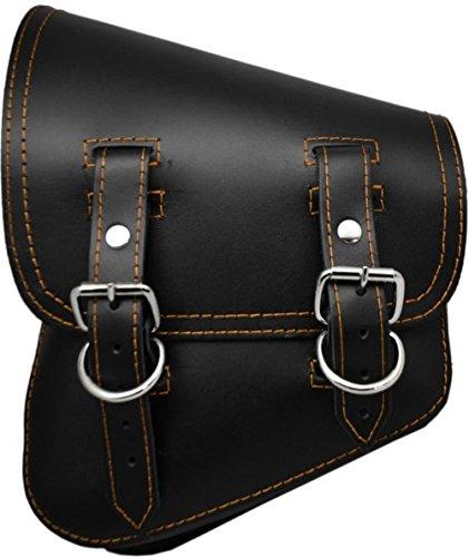 La Rosa Design All Harley-Davidson Softail/Rigid Frames Left Side Leather Saddle Bag-Black Leather with Orange Thread