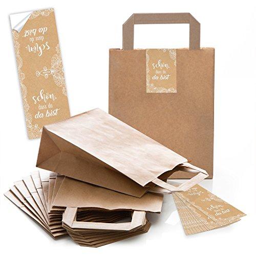 25 kleine braune Tüten Papier-Geschenktaschen Boden 18 x 8 x 22 cm + 25 SCHÖN DASS DU DA BIST Aufkleber 5 x 15 cm Verpackung beige creme-farben Spitze vintage