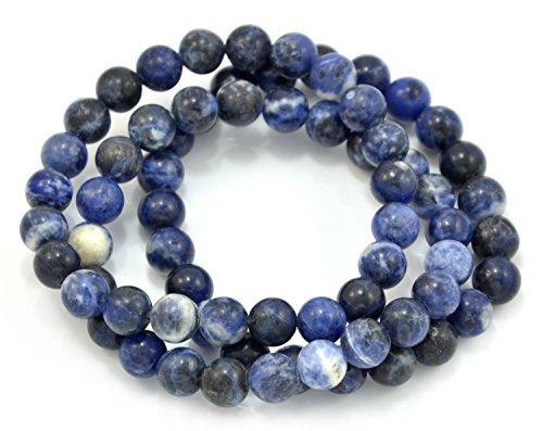 Paialco - Juego de 3 pulseras de cuentas elásticas con gemas de sodalita