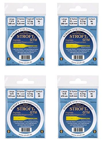 STROFT GTM Fliegenvorfach gezogenes Vorfach 7,5ft / 240cm alle Stärken (0,25mm - 1X)