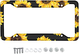 Babrukda Yellow Sunflower License Plate Frame,Handmade Waterproof License Plate Cover Stainless Metal Plate Holder Novelty Vanity License Plate Tag Sign Car Exterior Accessories Gift for Women