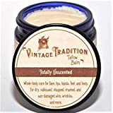 Vintage Tradition Totally Unscented Tallow Balm, 100% Grass-Fed, 2 Fl Oz'The Whole Food of Skin Care'