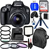 Canon EOS 4000D/Rebel T100 DSLR Camera with 18-55mm III Lens and Essential Accessory Bundle – Includes SanDisk Ultra 64GB SDXC Memory Card & LED Light Kit & 3PC Multi-Coated Filter Set & More
