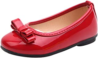 0c2d18c819a24 Mary Jane Fille Fille Chaussures de Princesse Ornés de Noeud Papillon Verni  Cuir Ballerines Fille pour