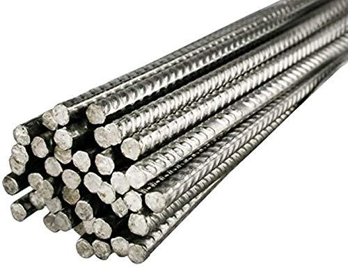 Varilla corrugada de acero Inox AISI 304 | Barras de 100 cm | Ø 6 mm | Refuerzo de la estructura de bloque de vidrio o hormigon | Unidad de venta 10 barras por paquete.