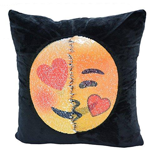 Flyfish, federa per cuscino con paillettes, reversibile, raffigurante una faccina emoji, decorazione fai da te per divano, 40x 40cm